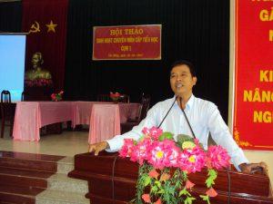(Ông Nguyễn Tấn Công- P.Trưởng phòng Phòng GD&ĐT phát biểu khai mạc Hội Thảo)