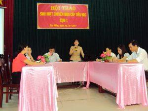 (Ảnh buổi sinh hoạt chuyên môn tại Hội thảo của trường TH Tân Công Chí 2)